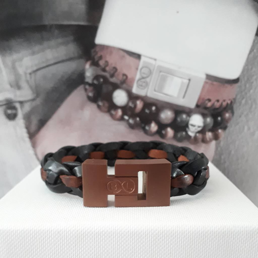 B & L Lederen armband Gevlochten - Zwart -Bruin 43532
