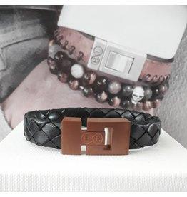 B & L Lederen armband Gevlochten - zwart 43531
