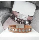 B & L Lederen Armband Ruw Brown  met studs  BL 99828