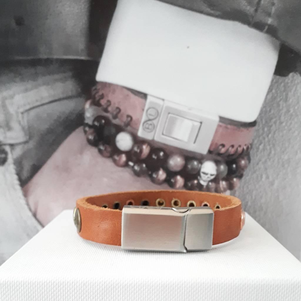 B & L Lederen Armband Cognac Brown  met studs  BL 99829