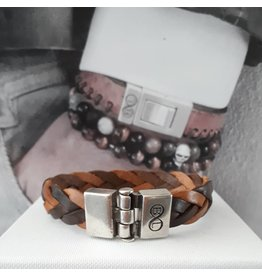 B & L Lederen armband Gevlochten -Donker en Licht Bruin 43539