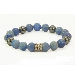 B & L Armband Hematiet, 925 Sterling Zilver, Blue Aventurien met zlveren Ton Kraal BL78-17