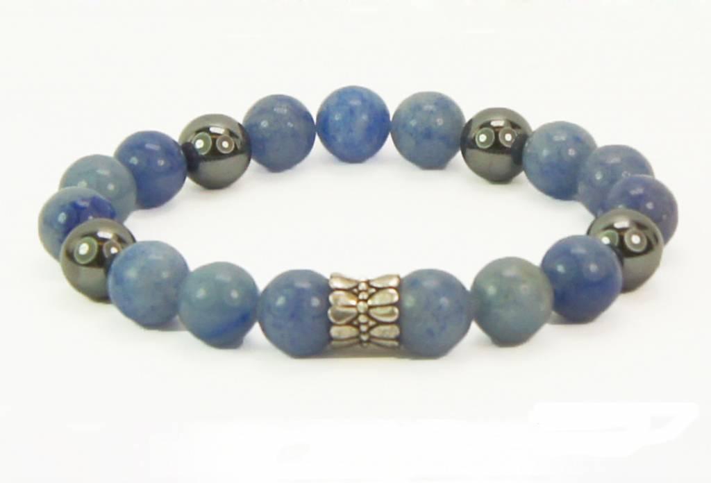 B & L Armband Hematiet, Blue Aventurien met 925 Sterling Zilveren Ton Kraal BL78-17