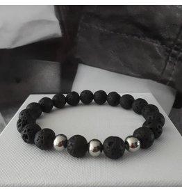 Sazou Jewels Armband Natural Stones Lava 10 mm SZ859