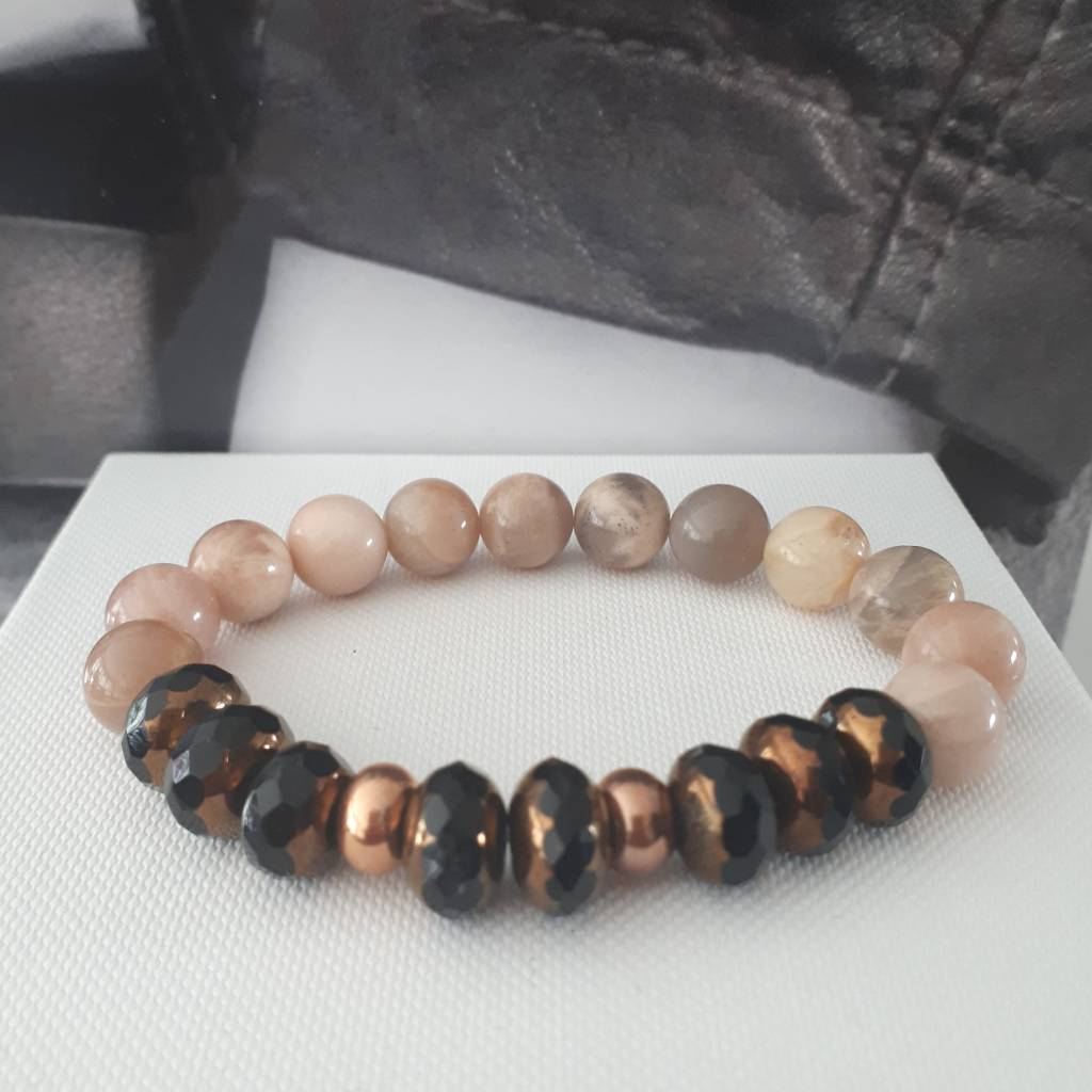 Sazou Jewels Armband Natural Stones Agaat / Facetkralen SZ8414