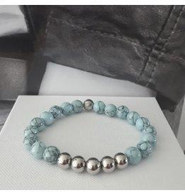 Sazou Jewels Armband Natural Stones Turquoise met marmer look SZ829