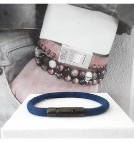 B & L Lederen armband Dark Blue BL99830