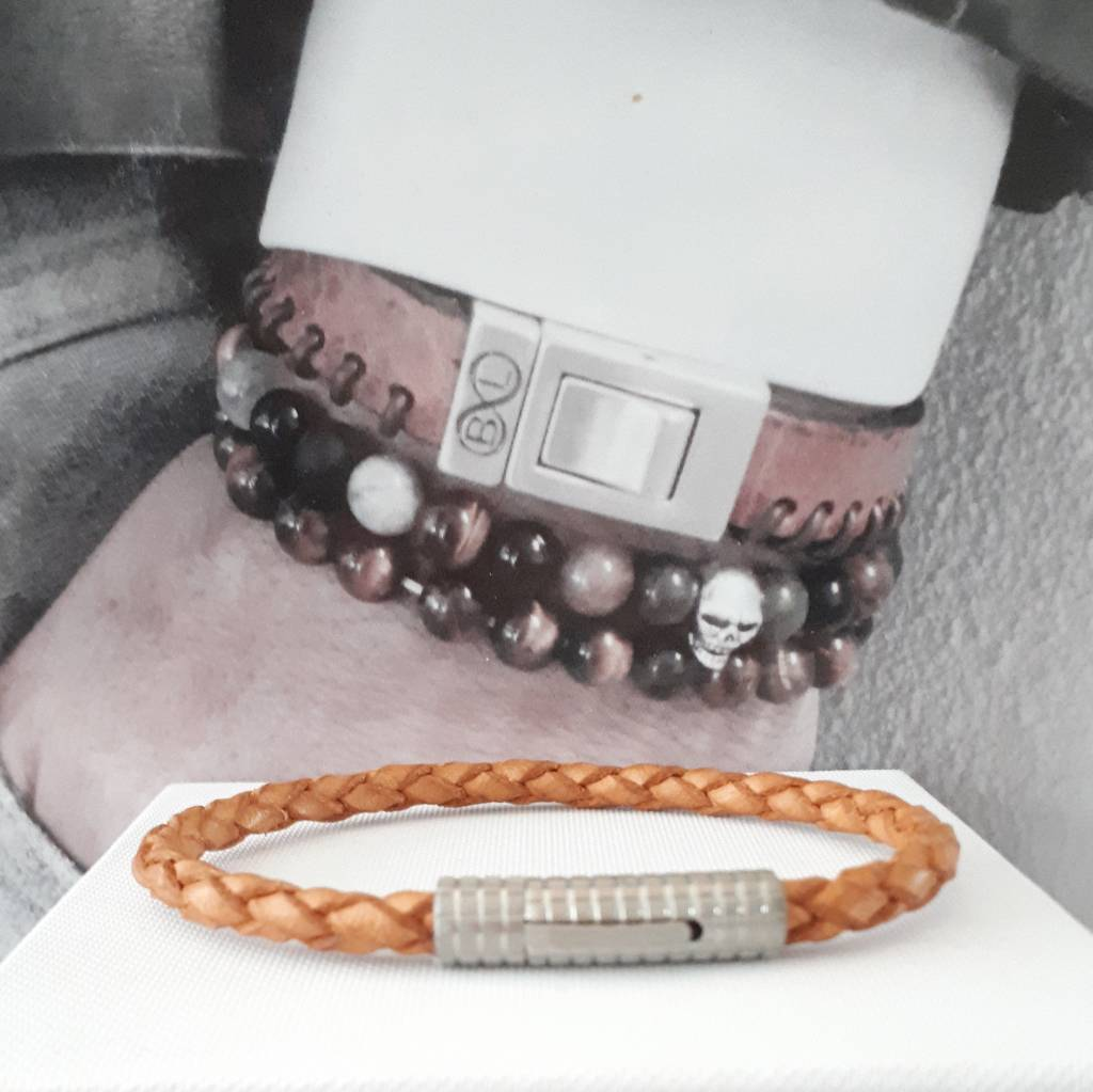 B & L Lederen armband Gevlochten / Cognac  BL99831