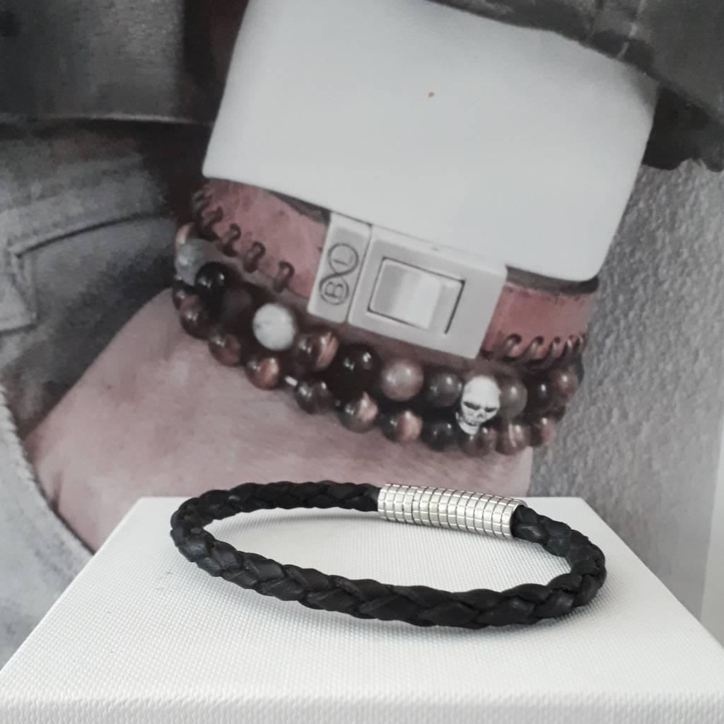 B & L Lederen armband Gevlochten / Zwart  BL99832