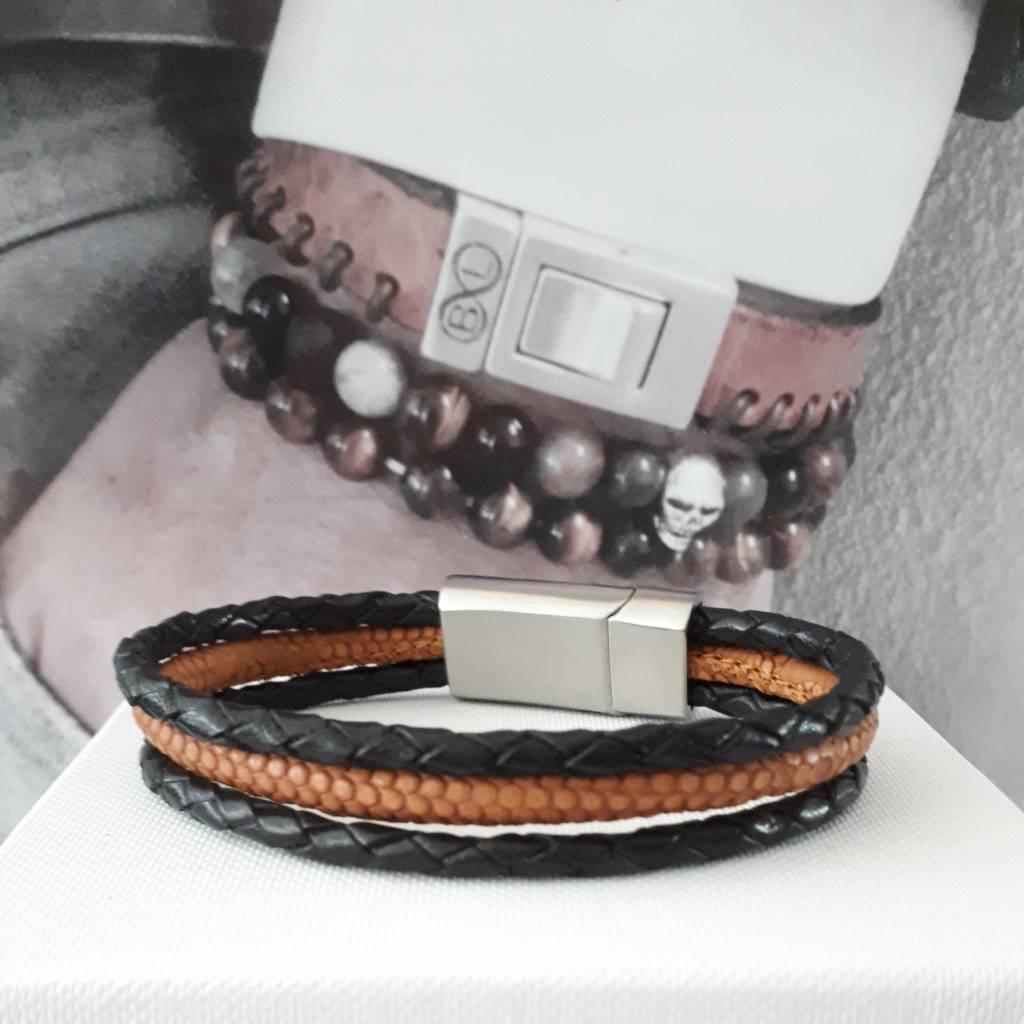 B & L Lederen armband  Zwart  Cognac BL99833