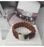 B & L Lederen Armband Red Brown Open Braided BL99835