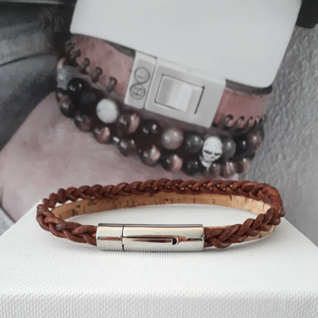 B & L Lederen armband  Cognac Kurk  BL99834