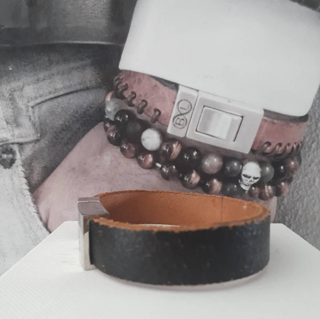 B & L Lederen Armband  Rough Black   BL 99836