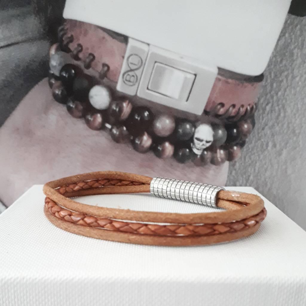 B & L Lederen armband  Cognac Bruin BL99837