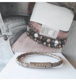 B & L Lederen armband  Grijs  BL99839
