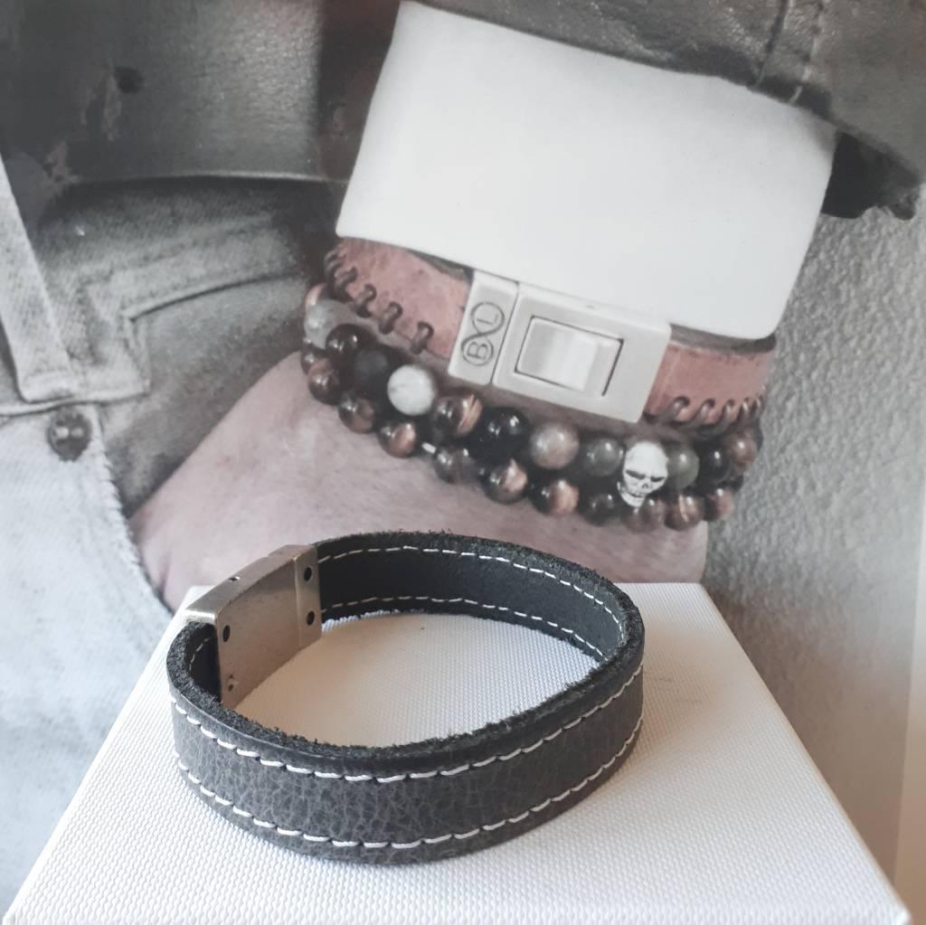 B & L Lederen armband  Grey 99844