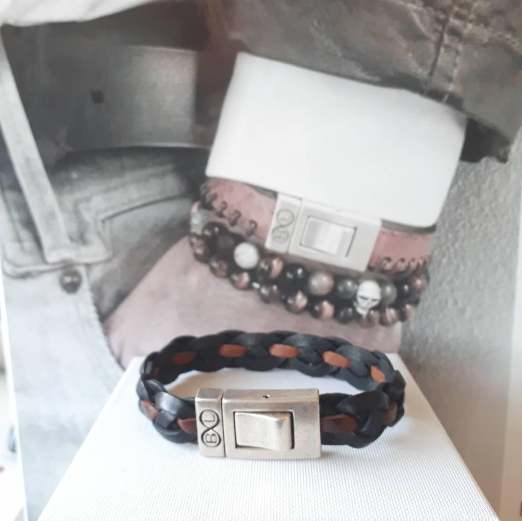 B & L Lederen armband Gevlochten - Zwart -Bruin 99845