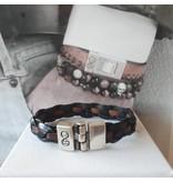 B & L Lederen armband Gevlochten - Zwart -Bruin 99846