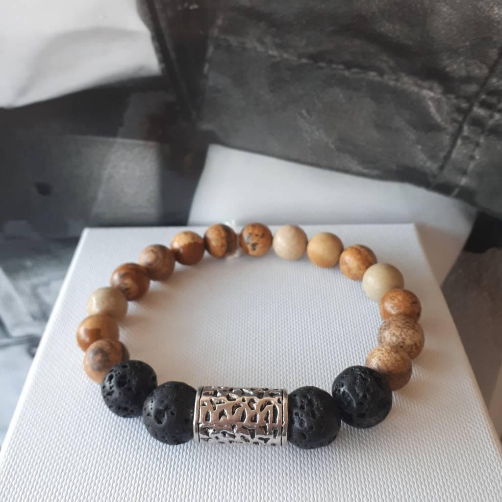 Sazou Jewels Armband Natural Stones Lava - Brown Jaspis 8415