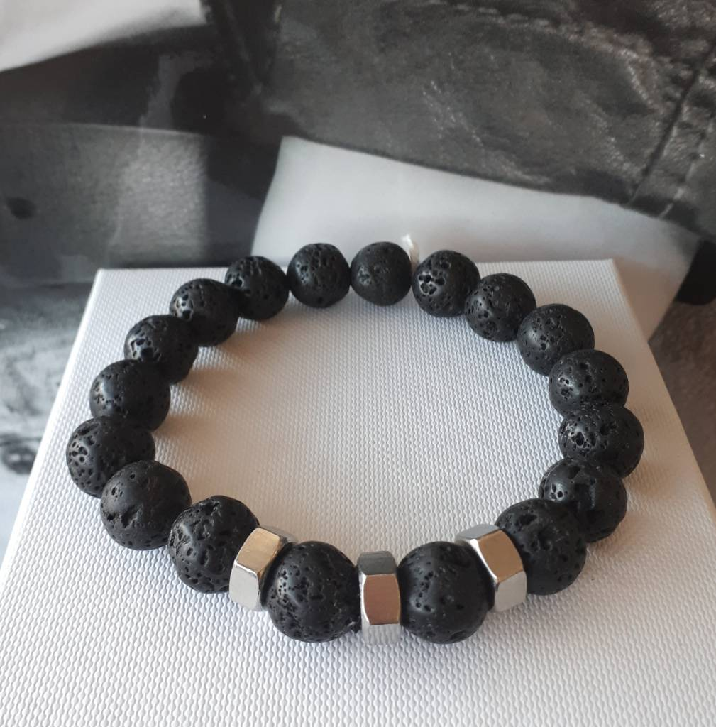 Sazou Jewels Armband Natural Stones Lava 8417