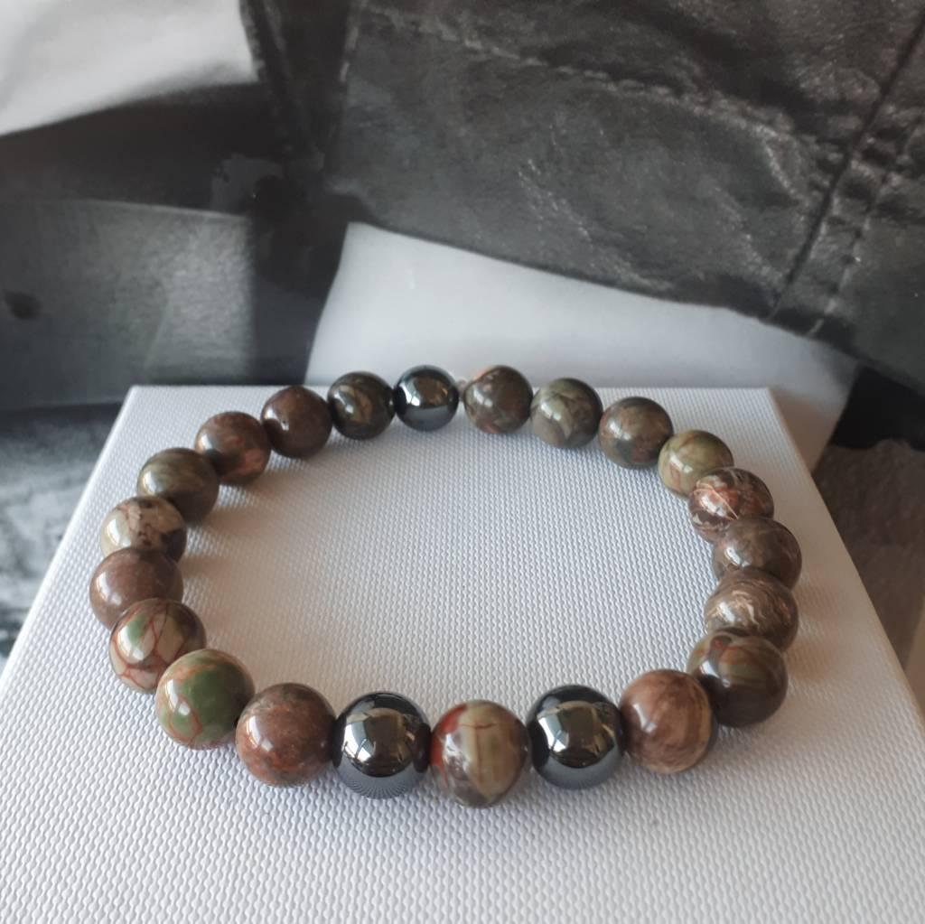 Sazou Jewels Armband Natural Stones Leopard Jaspis Hematiet 8419