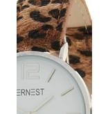 Ernest Horloge Leopard Silver-Bruin - HOR 7192