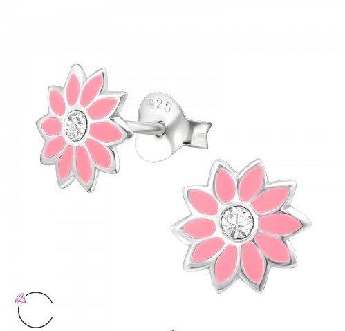 PJ Oorstekers Pink Flower met Swarovski® Kristallen- 925 sterling zilver
