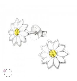 PJ Oorstekers White Flower met Swarovski® Kristallen- 925 sterling zilver  - Copy
