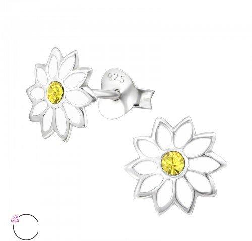 PJ Oorstekers White Flower met Swarovski® Kristallen- 925 sterling zilver  - Copy