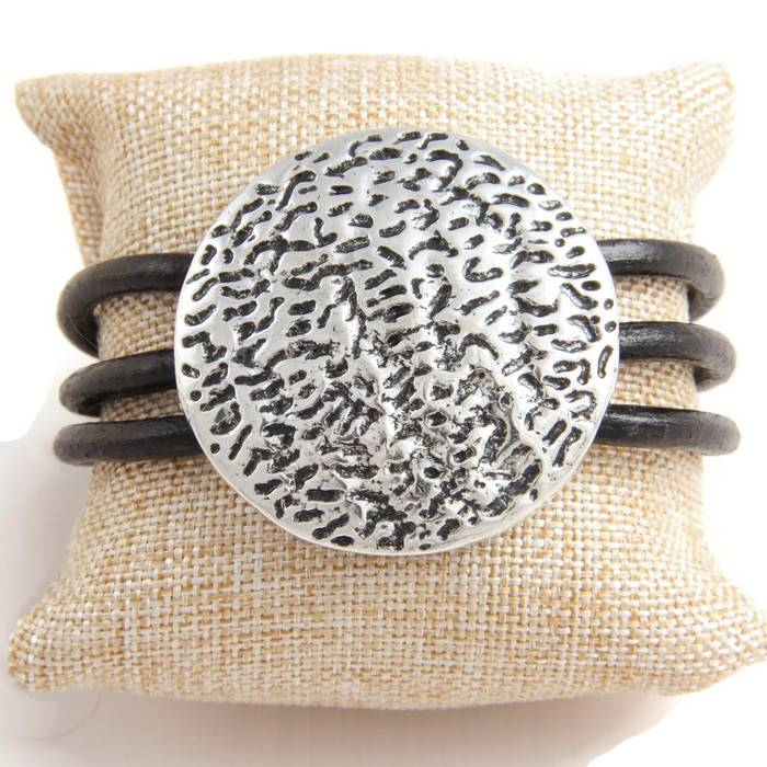 Armband Leer met Ornament