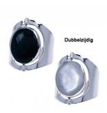 Dames Ring met dubbelzijdige Steen - 925 Sterling Zilver