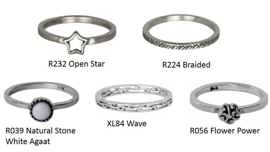 Charmin's Zilveren Ringen set van 5