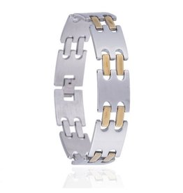 Armband - Silver Gold - Edelstaal - 21 cm
