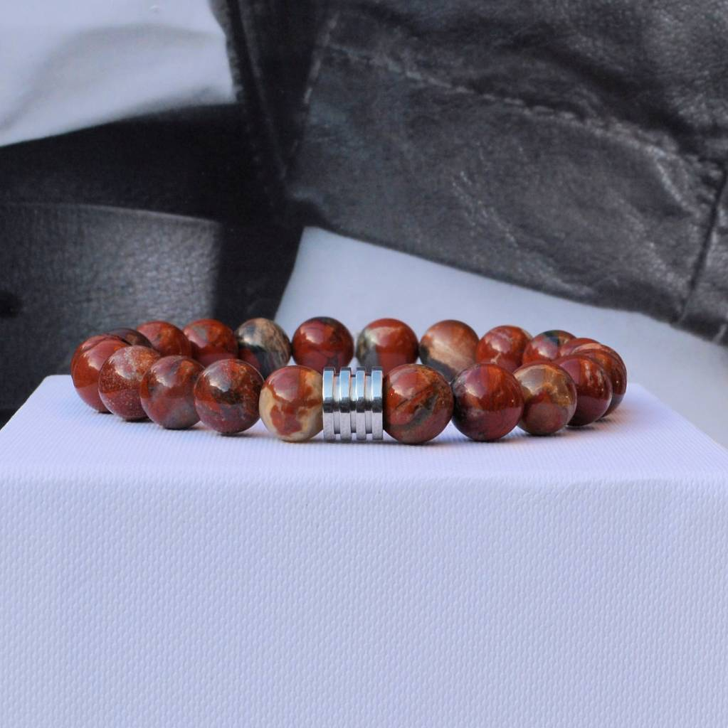 Sazou Jewels Armband Natural Stones Rode Jasper 8421
