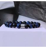 Sazou Jewels Armband Natural Stones Blauwe Tijgeroog 8426