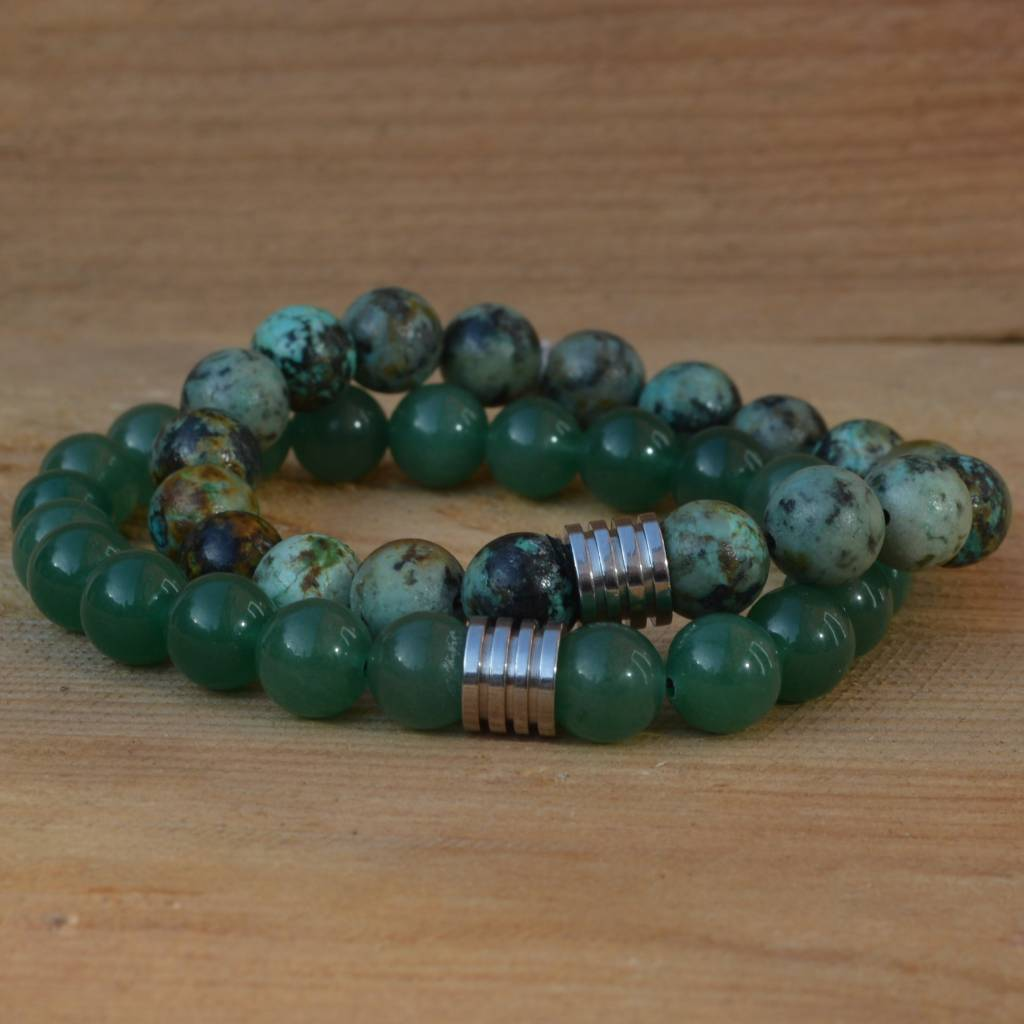 Sazou Jewels Armband Natural Stones Groene Aventurijn 8424