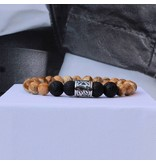 Sazou Jewels Armband Natural Stones Lava - Brown Jaspis  8427