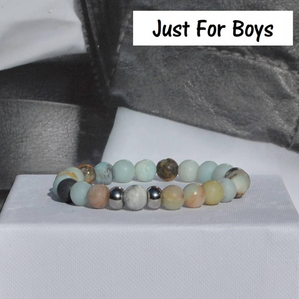 Sazou Jewels Armband Boys Natural Stones Amazoniet frosted