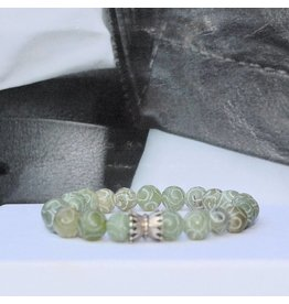 Sazou Jewels Armband Natural Stones Green met 925 sterling zilveren bedel