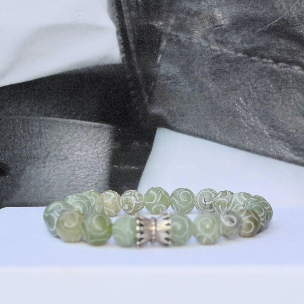 Sazou Jewels Armband Natural Stones Green met 925 sterling zilveren bedel