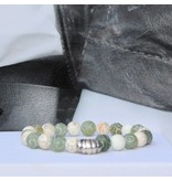 Sazou Jewels Armband Natural Stones Green White met 925 sterling zilveren bedel