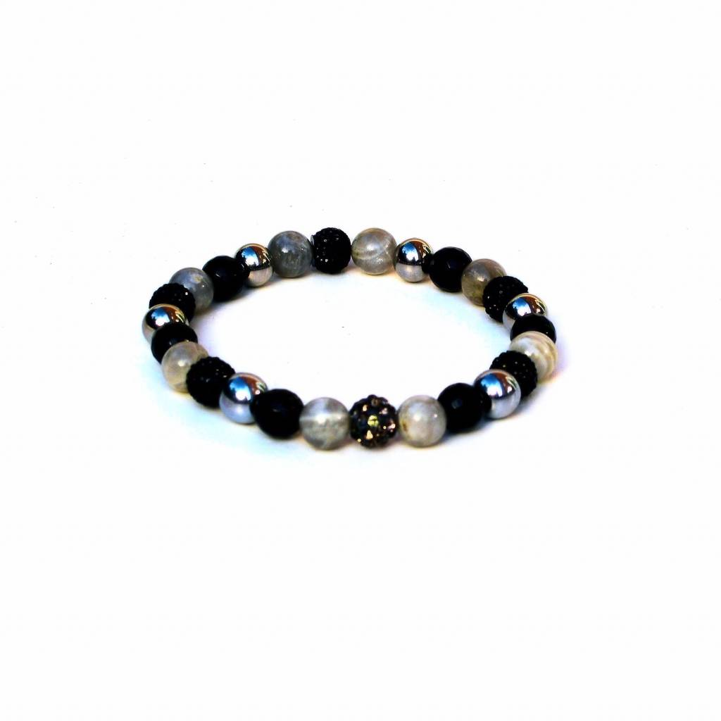 Sazou Jewels Armband Natural Stones Black  8432