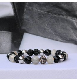 Sazou Jewels Armband Natural Stones Black  8432