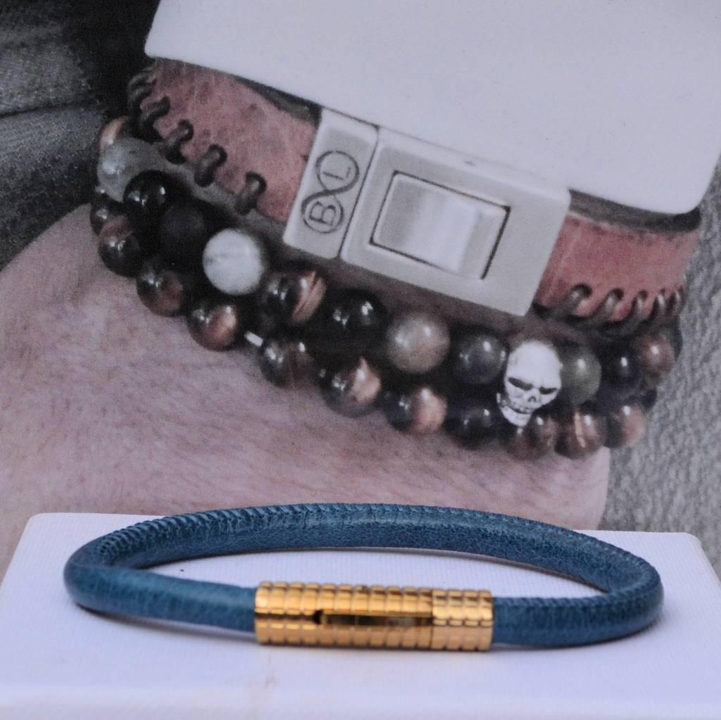 B & L Lederen armband Jeans Blue BL99847