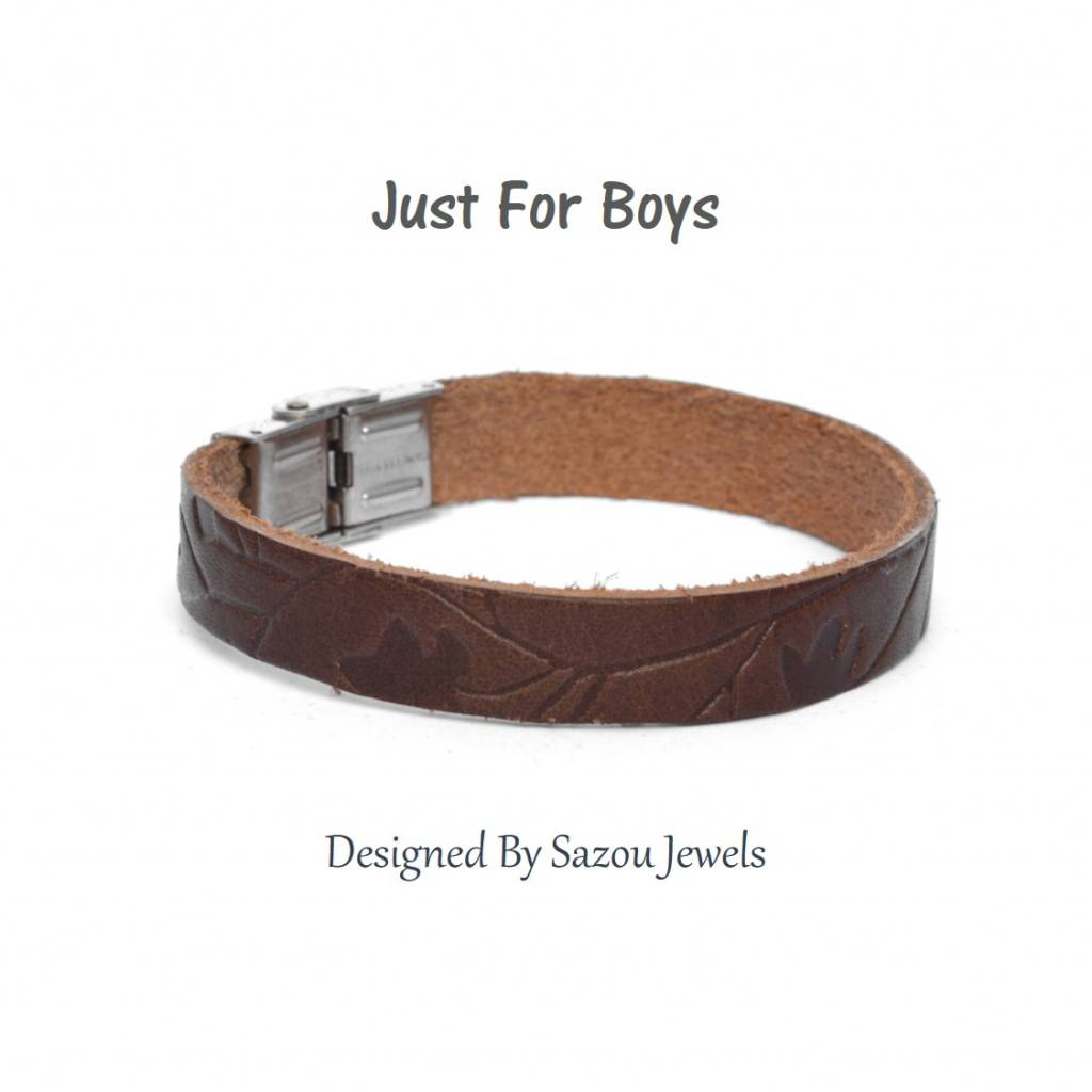 Sazou Jewels Armband Boys Lee Brown met patroon