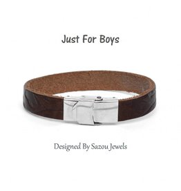 Sazou Jewels Armband Boys Leer Brown met patroon