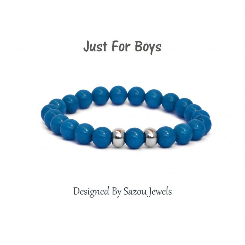 Sazou Jewels Armband Boys Natural Stones Blauwe Jade