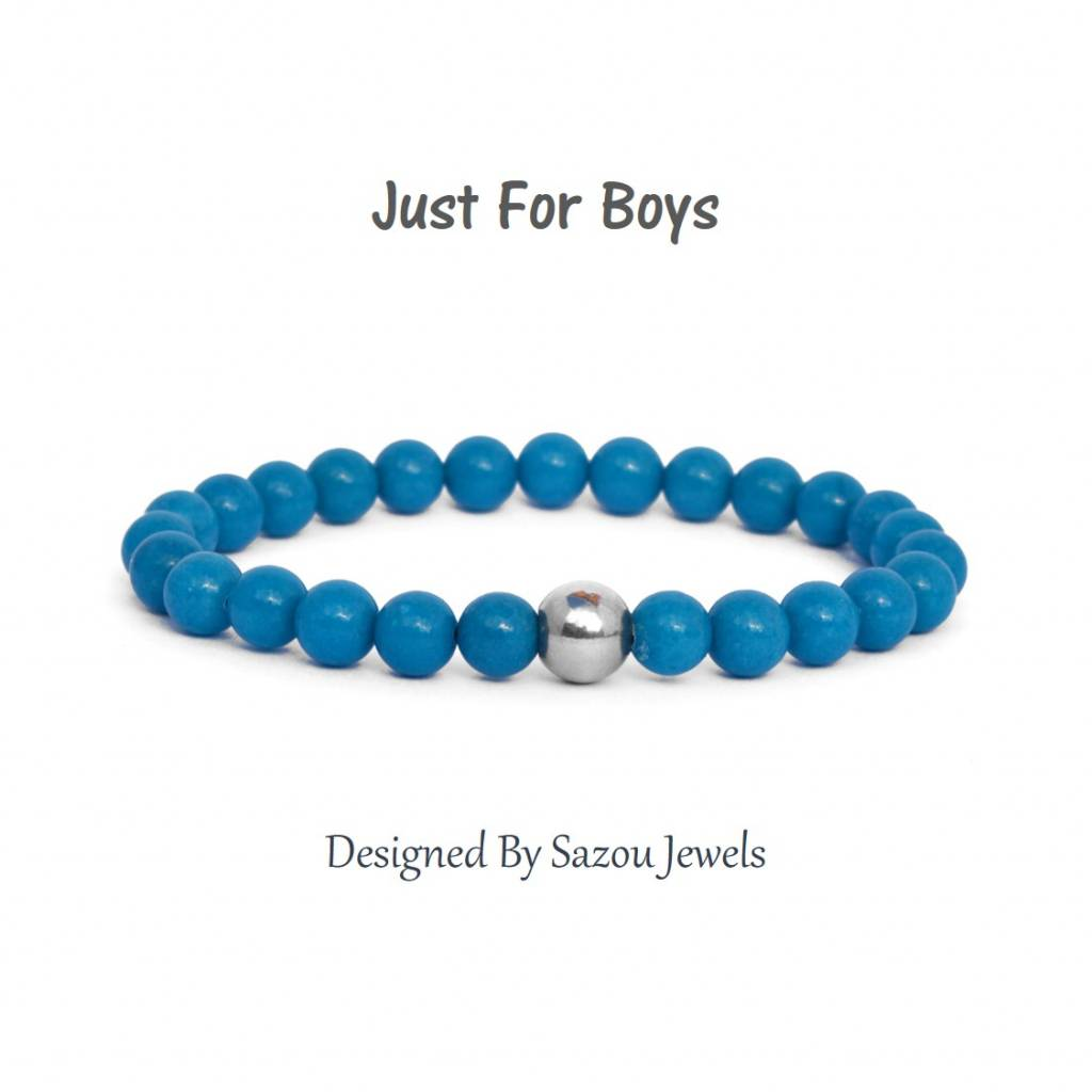Sazou Jewels Armband Boys Natural Stones Blauwe Jade