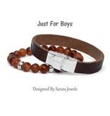 Sazou Jewels Armband Boys Natural Stones Light Brown