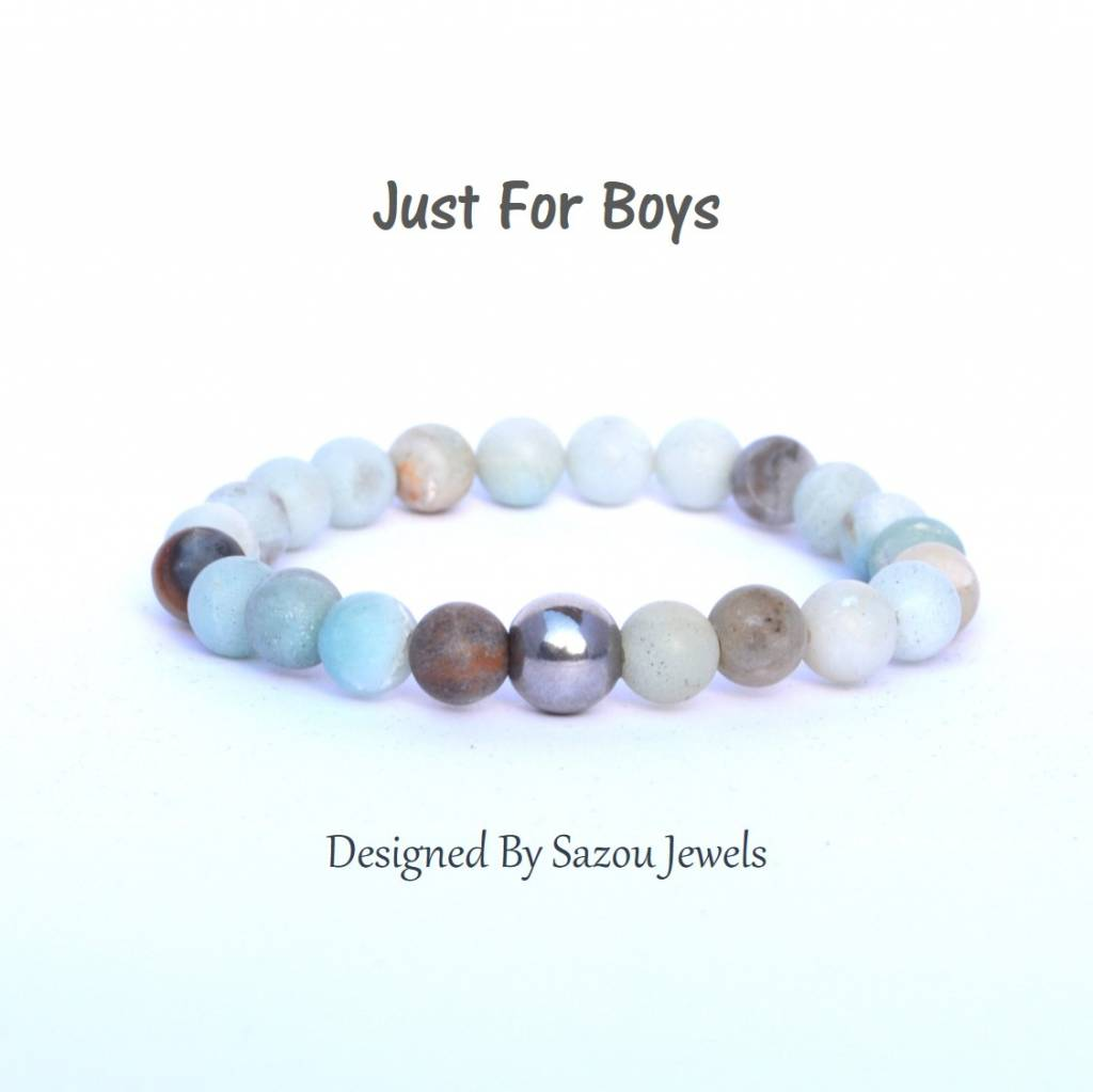 Sazou Jewels Armband Boys Natural Stones Amazoniet frosted
